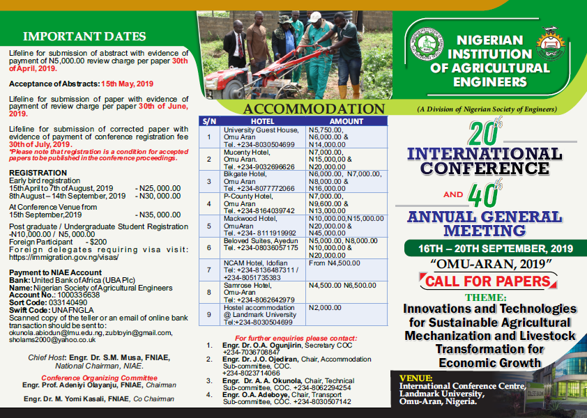 NIAE 20th International Conference and 40th AGM